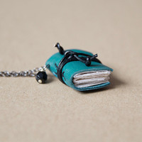 Leather miniature book necklace, mini book jewelry, book lover literature gift, eco friendly pendant, steampunk - teal