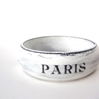 Paris Bracelet, French Wooden Bangle, Black and White, Rustic, Eiffel Tower, Vintage Paris, Shabby Chic, Hand Painted, Travel Jewelry
