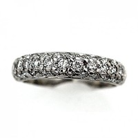Estate 14 Kt White Gold Pave Diamond Wedding Band Circa 1970s-80s | artdecodiamonds - Jewelry on ArtFire