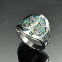 Opal Inlayed Leaf Ring | JewelerJim - Jewelry on ArtFire
