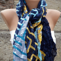 Multicolor Shawl Scarf Headband Necklace Cowl by Fatwoman