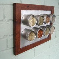spicelab magnetic spice rack with 8 round by purposedesign on Etsy