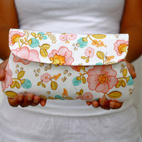 Floral clutch in pink - cotton clutch, simple clutch Main in Pink