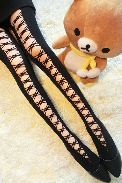 Crossed Straps Black Tights [NCSPK0040] - &amp;#36;18.99 :