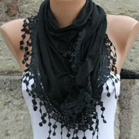 Black Shawl Scarf by Fatwoman on Etsy