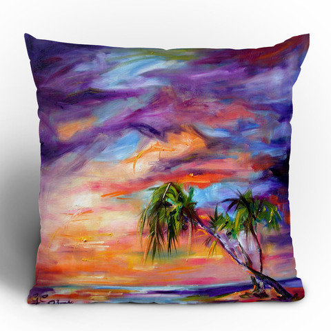 Ginette Fine Art Florida Palms Beach Throw Pillow