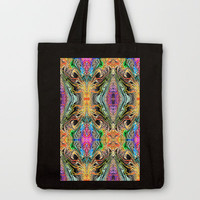 Neon Pinstripes 2 D Tote Bag by K Shayne Jacobson