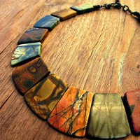 Necklace Picasso Jasper Gemstone Beaded Collar: Queens Ransom | CreatedbyRenee - Jewelry on ArtFire