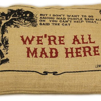 Alice in wonderland jute pillow We re all mad here lumbar Throw cushion cover case sham  UK red  black One 10 x 15 inch handmade