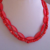 Double Strand Necklace Tangerine