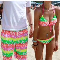 Fluorescence Color Bikini Sets