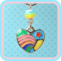 Fairy Kei Bright Rainbow Love Star Charm Cell by blacktulipshop