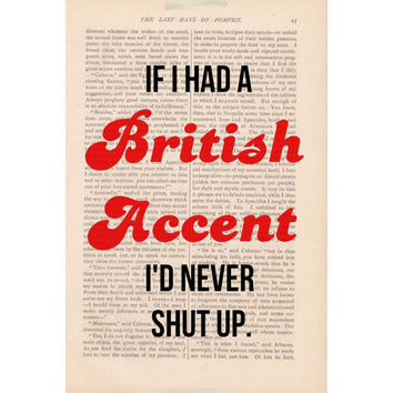vintage dictionary page art If I Had a BRITISH by ExLibrisJournals