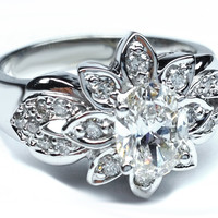 Engagement Ring - Antique Oval Diamond Flower Engagement Ring 0.29 tcw. In 14K White Gold - ES96