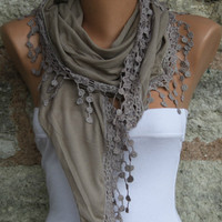 Beige Shawl Scarf Headband Necklace Cowl by fatwoman on Etsy