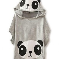 Cute Panda Cartoon Batwing Loose Hooded T-shirt