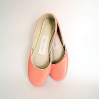 new Soft leather ballet flats Coral by thewhiteribbon on Etsy