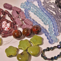 Huge Destash Lot 2 - Jewelry Supplies - Beads, Porcelain, Acrylic, Lampwork, Faceted Glass