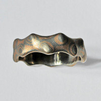 Mokume Gane Ring of 14K Rose and Palladium White Gold by pmgart