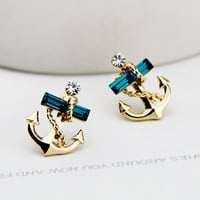 Blue Rhinestone Anchor Earrings
