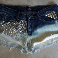 Swarvoski and Studs Encrusted Ombre Denim Cutoff Shorts