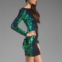 DRESS THE POPULATION Lola Long Sleeve Scoop Back Sequin Dress in Emerald Iridescent from REVOLVEclothing.com