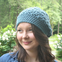 Crochet Hat Slouchy Beanie Hat Textured HDC Dusty Blue