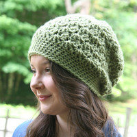 Crochet Hat Slouchy Beanie Hat Textured HDC Dusty Green