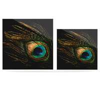 "Alison Coxon ""Peacock Black"" Luxe Square Panel 