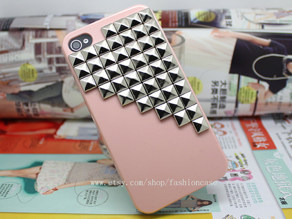 Etsy Transaction -        Pink Hard Case Cover With Silvery Stud For Apple Iphone 4,4s,4g,4gs C033