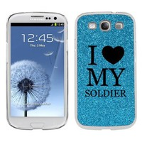 Light Blue Samsung Galaxy S3 SIII i9300 Glitter Bling Hard Case Cover KG89 I Love My Soldier:Amazon:Cell Phones & Accessories