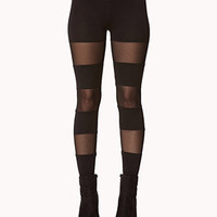 Mesh Panel Leggings | FOREVER21 - 2063035221