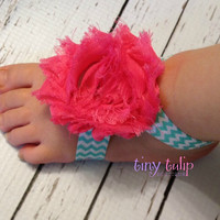 Baby Barefoot Sandals...Chevron Barefoot Sandals...Blue and Pink Barefoot Sandals...