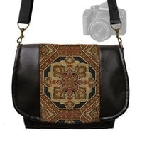 Womens Digital SLR Camera Bag Medallion Tapestry Vegan Black Leather | JanineKingDesigns - Bags & Purses on ArtFire