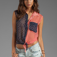 Equipment Deim Tie Front in Patriot Multi from REVOLVEclothing.com
