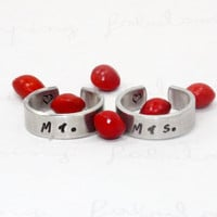 Mr and Mrs Rings Set, Hand Stamped Aluminum Matching Rings, Simple and Modern, Anniversary and Wedding Gift