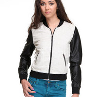 DJPremium.com - Women - Shop by Department - Sale - Jackets & Coats - Linen w/ Faux Leather Baseball Jacket
