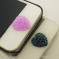 1PC Resin Cute Cartoon Paved Flower Hearts iPhone Home Button Sticker for iPhone 5, 4, 4s, 4g, Cell Phone Charm, Kids Gift