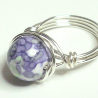Rain Flower Ocean Jade Purple Violet Green Silver Plate Wire Wrapped Ring