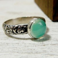 Floral Embossed Chalcedony Ring Sterling Stacking Ring Aqua Gemstone