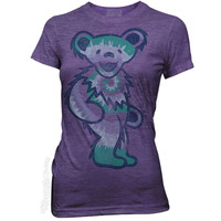 Grateful Dead - Purple Tie Dye Bear Women's T Shirt on Sale for $18.95 at HippieShop.com