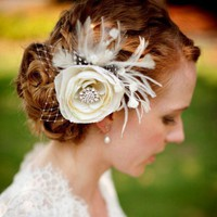 Bridal Hair Fascinator, Woodland Wedding Flower Feather Hairclip - MELIANA CRYSTALIA | yjdesign - Wedding on ArtFire