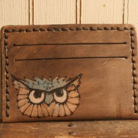 Mr. Owl ID Wallet - Leather in Silver, Turquoise and Antique Black | moxieandoliver - Bags & Purses on ArtFire
