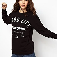 ASOS Sweatshirt in Wash with Good Life California Print at asos.com