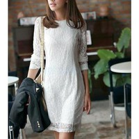Fashion Sweet Retro Ladies Woman's Slim Fit Lace Long Sleeves Dress M White