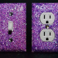 SET of LUMINOUS PURPLE Glitter Switch Plate / Outlet Covers ANY STYLES