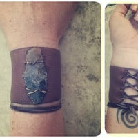warrior. genuine arrowhead adjustable deerskin corset style cuff