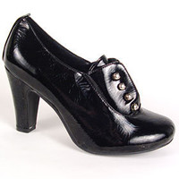 PLASTICLAND - Black Patent Bijoux Noir Brogue Pumps