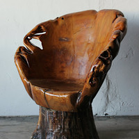 Exquisite Hand Carved Tree Trunk Chair on Swivel Base