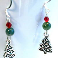 Holiday Earrings Christmas Tree Charms